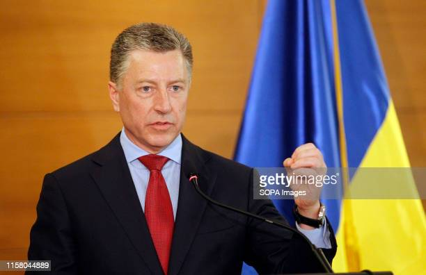 Kurt Volker US Department Special Representative for Ukraine speaks during a press conference about USUkrainian relations in Kiev The US delegation...