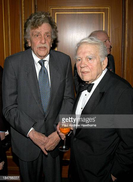 Kurt Vonnegut, Jr. And Andy Rooney during 2004 Writers Guild of America, East Awards - Arrivals at Pierre Hotel in New York City, New York, United...