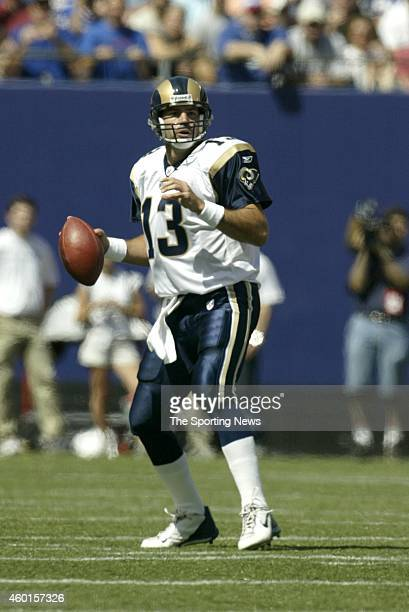 Kurt Warner of the St Louis Rams in action during a game against the New York Giants on September 07 2003 at the MetLife Stadium in East Rutherford...