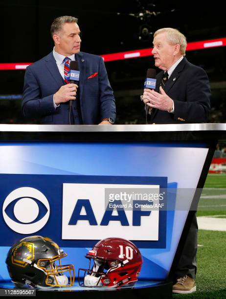 Kurt Warner speaks with Alliance of American Football cofounder Bill Polian prior to an Alliance of American Football game between the San Diego...
