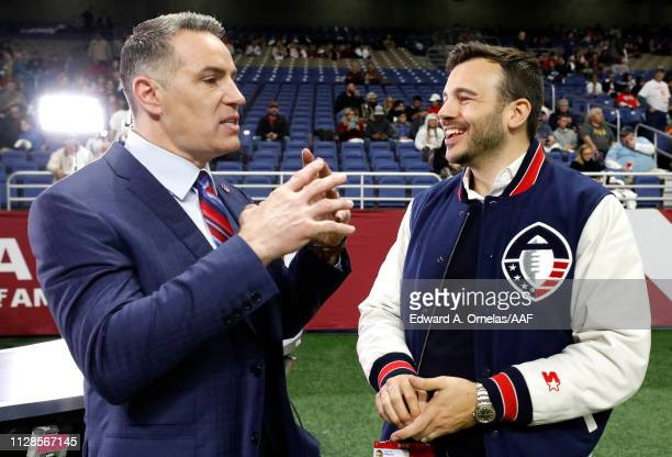 Kurt Warner speaks with Alliance of American Football cofounder Charlie Ebersol prior to an Alliance of American Football game between the San Diego...