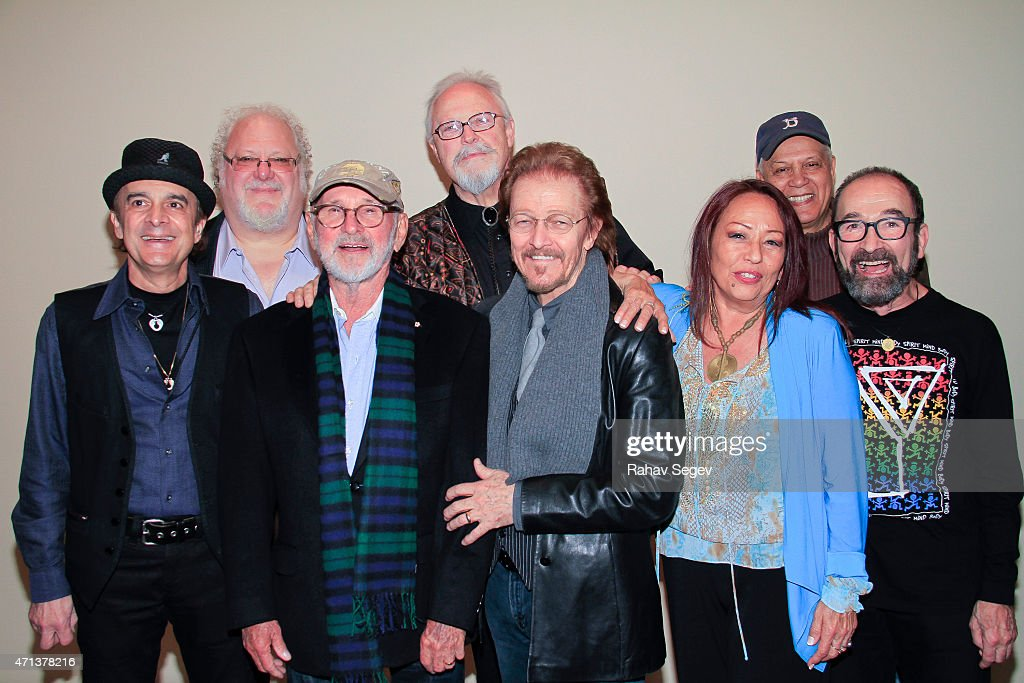 Kurt Yaghjian, Norman Jewison, Ted Neeley, Yvonne Elliman, Barry Dennen, Josh Mostel, Bob Bingham and Larry Marshall attend the 'Jesus Christ Superstar' original cast reunion Q&A and Screening of the film at the Beekman Theatre on April 27, 2015 in New York City.