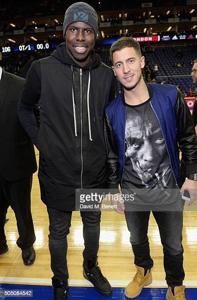 Kurt Zouma and Eden Hazard attend the Orlando Magic vs Toronto Raptors NBA Global Game at The O2 Arena on January 14, 2016 in London, England.