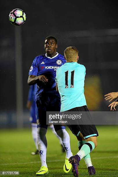 Kurt Zouma of Chelsea and Charles Vernam of Derby County during a Premier League 2 match between Chelsea and Derby County at The EBB Stadium on...