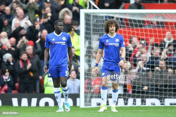 Kurt Zouma of Chelsea and David Luiz of Chelsea are dejected after Marcus Rashford of Manchester United scored his sides first goal during the...
