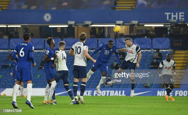 Kurt Zouma of Chelsea and Eric Dier of Tottenham Hotspur compete for the ball during the Premier League match between Chelsea and Tottenham Hotspur...