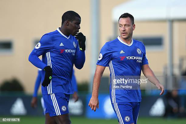 Kurt Zouma of Chelsea and John Terry speak during the Premier League 2 match between Chelsea and Southampton at Chelsea Training Ground on November...
