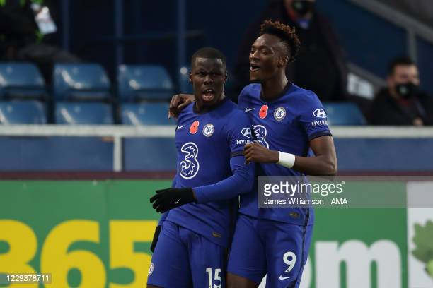 Kurt Zouma of Chelsea celebrates after scoring a goal to make it 0-2 with Tammy Abraham during the Premier League match between Burnley and Chelsea...