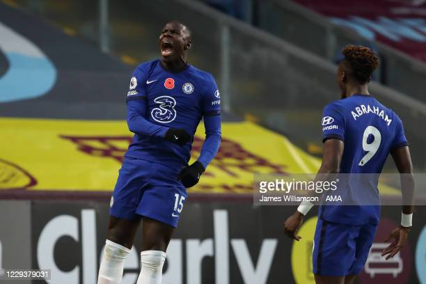 Kurt Zouma of Chelsea celebrates after scoring a goal to make it 02 during the Premier League match between Burnley and Chelsea at Turf Moor on...
