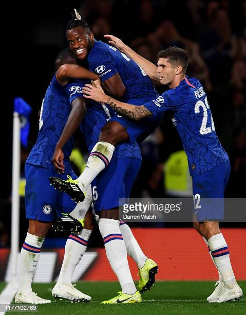 Kurt Zouma of Chelsea celebrates after scoring his sides 4th goal with his team mates during the Carabao Cup Third Round match between Chelsea FC and...