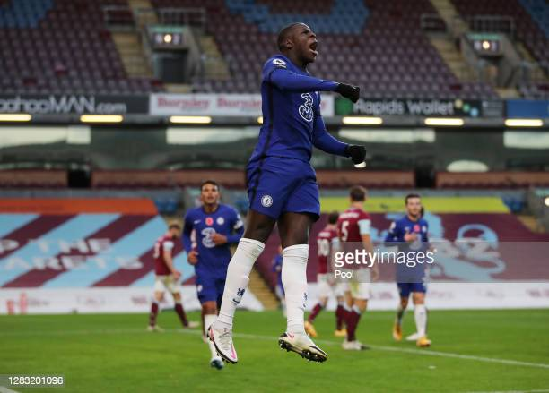 Kurt Zouma of Chelsea celebrates after scoring his team's second goal during the Premier League match between Burnley and Chelsea at Turf Moor on...