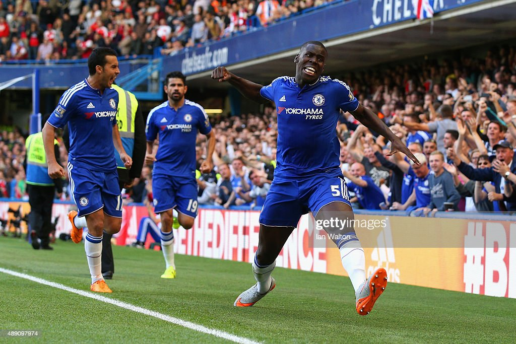 Kurt Zouma (1st R) of Chelsea celebrates scoring his team's first goal during the Barclays Premier League match between Chelsea and Arsenal at Stamford Bridge on September 19, 2015 in London, United Kingdom.