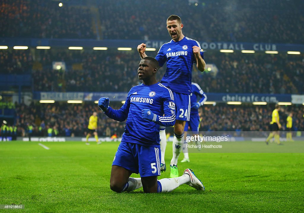 Kurt Zouma of Chelsea (5) celebrates with Gary Cahill (24) as he scores their third goal during the FA Cup Third Round match between Chelsea and Watford at Stamford Bridge on January 4, 2015 in London, England.