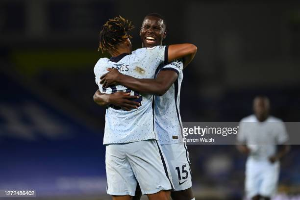 Kurt Zouma of Chelsea celebrates with Reece James after scoring his sides third goal during the Premier League match between Brighton Hove Albion and...