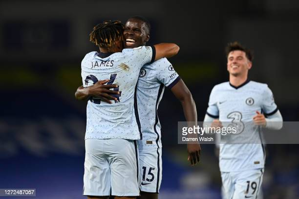 Kurt Zouma of Chelsea celebrates with Reece James after scoring his sides third goal during the Premier League match between Brighton & Hove Albion...