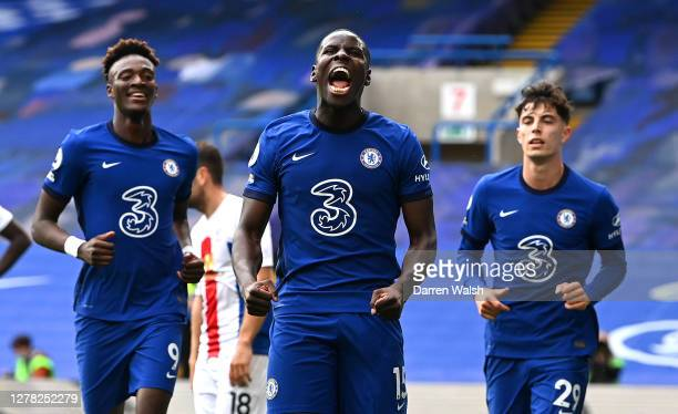 Kurt Zouma of Chelsea celebrates with teammates after scoring his sides second goal during the Premier League match between Chelsea and Crystal...