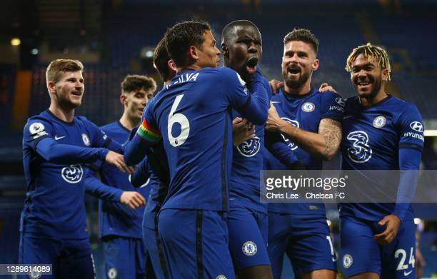 Kurt Zouma of Chelsea celebrates with teammates after scoring their team's second goal during the Premier League match between Chelsea and Leeds...