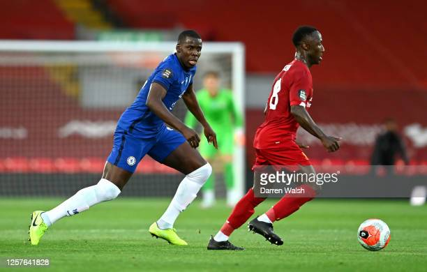 Kurt Zouma of Chelsea chases down Naby Keita of Liverpool during the Premier League match between Liverpool FC and Chelsea FC at Anfield on July 22...