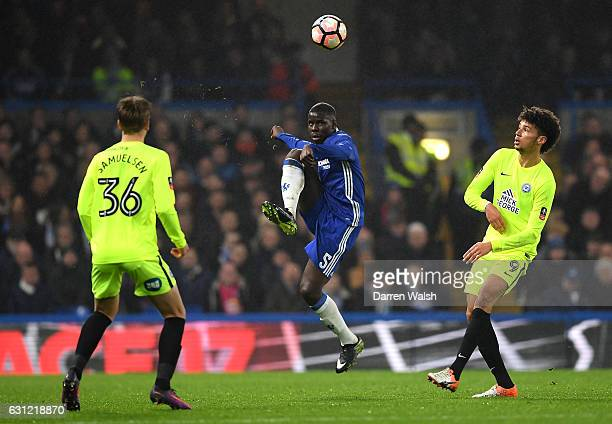 Kurt Zouma of Chelsea clears the ball during The Emirates FA Cup Third Round match between Chelsea and Peterborough United at Stamford Bridge on...
