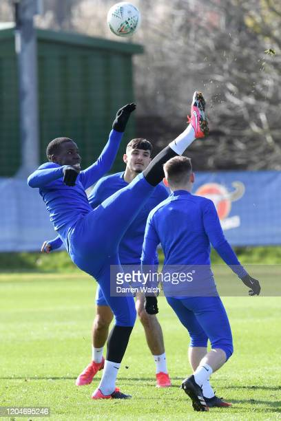 Kurt Zouma of Chelsea during a training session at Chelsea Training Ground on March 2 2020 in Cobham United Kingdom