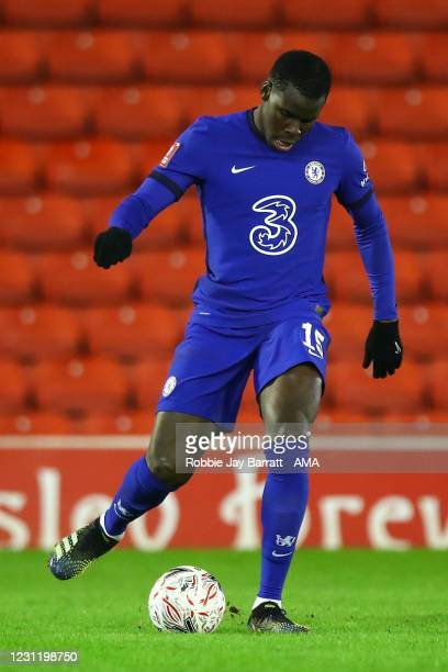 Kurt Zouma of Chelsea during The Emirates FA Cup Fifth Round match between Barnsley and Chelsea at Oakwell Stadium on February 11, 2021 in Barnsley,...