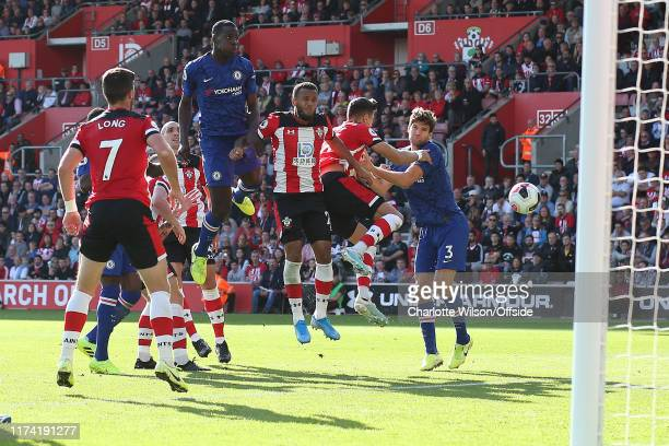 Kurt Zouma of Chelsea heads widee during the Premier League match between Southampton FC and Chelsea FC at St Mary's Stadium on October 6 2019 in...