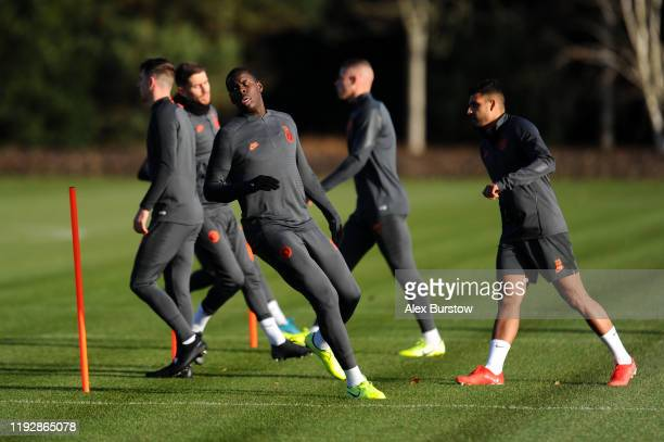 Kurt Zouma of Chelsea in action during a training session ahead of their UEFA Champions League Group H match against Lille OSC at Chelsea Training...