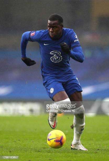 Kurt Zouma of Chelsea in action during The Emirates FA Cup Fourth Round match between Chelsea and Luton Town at Stamford Bridge on January 24, 2021...