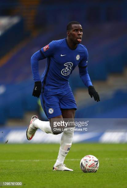 Kurt Zouma of Chelsea in action during the FA Cup Third Round match between Chelsea and Morecambe at Stamford Bridge on January 10, 2021 in London,...