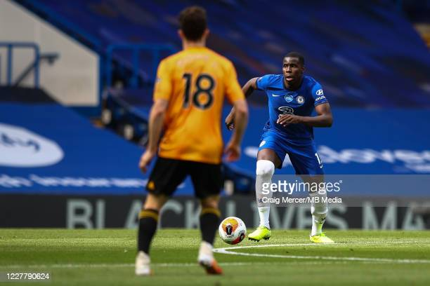 Kurt Zouma of Chelsea in action during the Premier League match between Chelsea FC and Wolverhampton Wanderers at Stamford Bridge on July 26 2020 in...