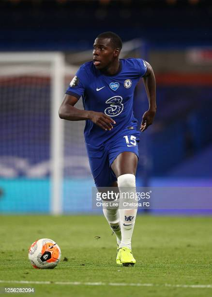 Kurt Zouma of Chelsea in action during the Premier League match between Chelsea FC and Norwich City at Stamford Bridge on July 14 2020 in London...