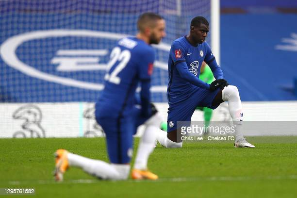 Kurt Zouma of Chelsea kneels before kick off during the FA Cup Third Round match between Chelsea and Morecambe at Stamford Bridge on January 10, 2021...