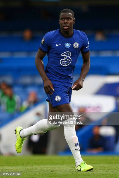Kurt Zouma of Chelsea looks on during the Premier League match between Chelsea FC and Wolverhampton Wanderers at Stamford Bridge on July 26 2020 in...