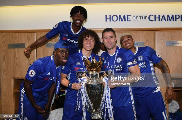 Kurt Zouma of Chelsea Nathaniel Chalobah of Chelsea David Luiz of Chelsea Gary Cahill of Chelsea Kenedy of Chelsea pose with the Premier League...