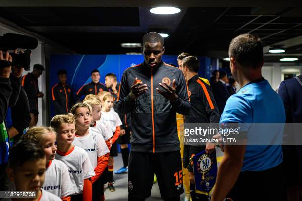 Kurt Zouma of Chelsea prays in the tunnel prior to the UEFA Champions League group H match between AFC Ajax and Chelsea FC at Amsterdam Arena on...