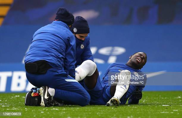 Kurt Zouma of Chelsea receives medical attention during The Emirates FA Cup Fourth Round match between Chelsea and Luton Town at Stamford Bridge on...