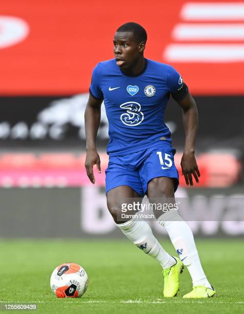 Kurt Zouma of Chelsea runs with the ball during the Premier League match between Sheffield United and Chelsea FC at Bramall Lane on July 11 2020 in...