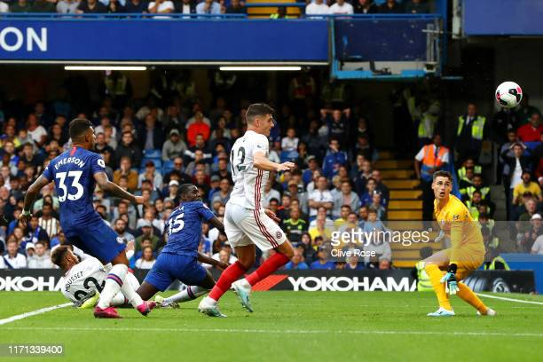 Kurt Zouma of Chelsea scores an own goal for Sheffield United's second goal during the Premier League match between Chelsea FC and Sheffield United...