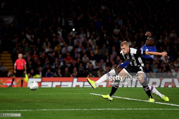 Kurt Zouma of Chelsea scores his sides fourth goal during the Carabao Cup Third Round match between Chelsea FC and Grimsby Town at Stamford Bridge on...
