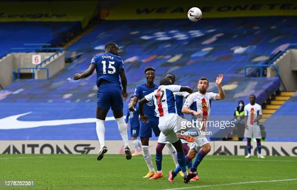 Kurt Zouma of Chelsea scores his sides second goal during the Premier League match between Chelsea and Crystal Palace at Stamford Bridge on October...