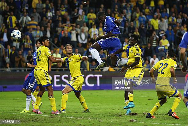 Kurt Zouma of Chelsea scores his teams fourth goal during the UEFA Champions League Group G match between Maccabi Tel-Aviv FC and Chelsea FC at Sammy...