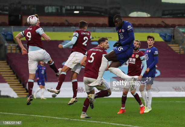 Kurt Zouma of Chelsea scores his team's second goal during the Premier League match between Burnley and Chelsea at Turf Moor on October 31 2020 in...