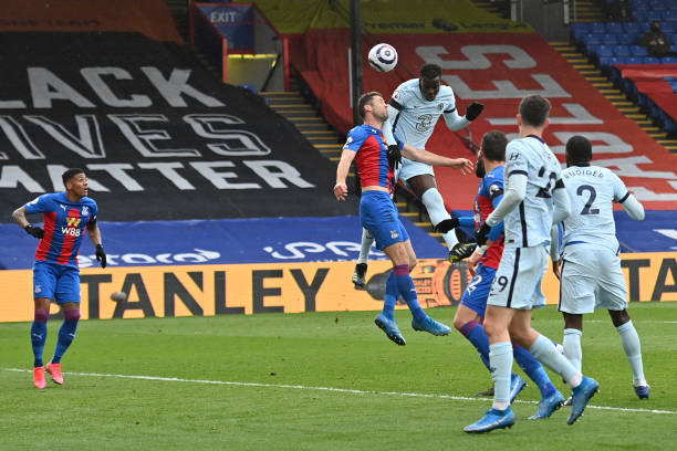 Kurt Zouma of Chelsea scores their team's third goal during the Premier League match between Crystal Palace and Chelsea at Selhurst Park on April 10,...