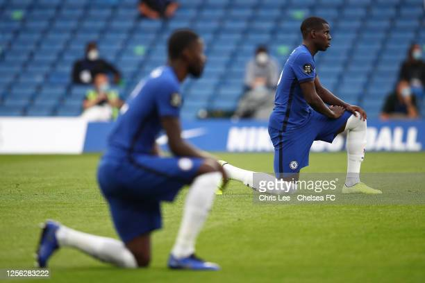 Kurt Zouma of Chelsea takes the knee during the Premier League match between Chelsea FC and Norwich City at Stamford Bridge on July 14 2020 in London...