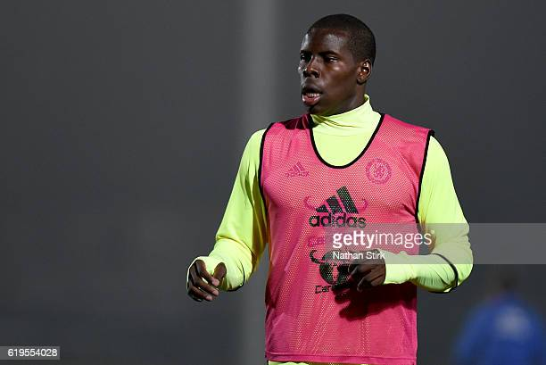 Kurt Zouma of Chelsea warms up before the Premier League 2 match between Everton U21s and Chelsea U21s at Haig Avenue Stadium on October 31 2016 in...