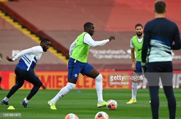Kurt Zouma of Chelsea warms up prior to the Premier League match between Liverpool FC and Chelsea FC at Anfield on July 22 2020 in Liverpool England...