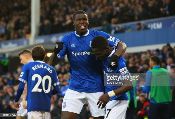 Kurt Zouma of Everton celebrates after scoring his team's first goal with Idrissa Gueye during the Premier League match between Everton FC and AFC...