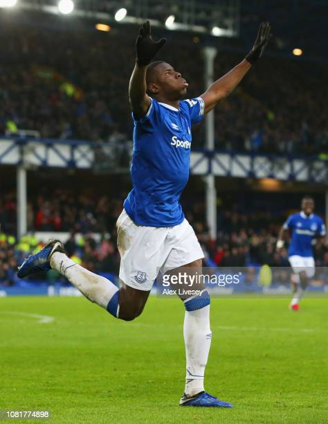 Kurt Zouma of Everton celebrates after scoring his team's first goal during the Premier League match between Everton FC and AFC Bournemouth at...