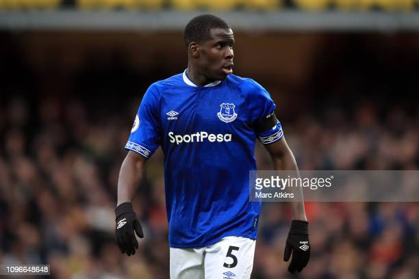 Kurt Zouma of Everton during the Premier League match between Watford FC and Everton FC at Vicarage Road on February 9 2019 in Watford United Kingdom
