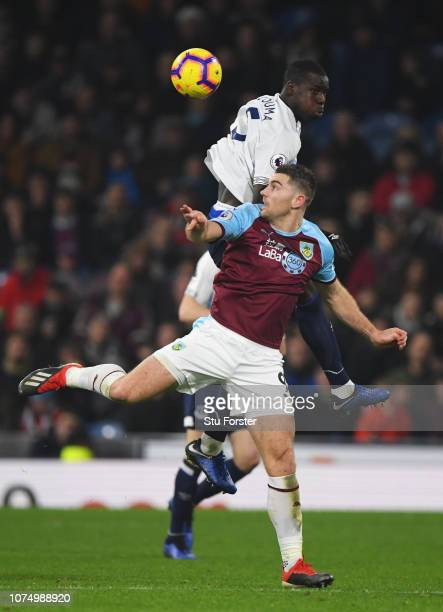 Kurt Zouma of Everton outjumps Sam Vokes of Burnley during the Premier League match between Burnley FC and Everton FC at Turf Moor on December 26...